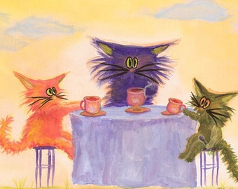 KITTY TEA PARTY matted print