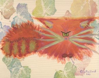 ORANGE CRANKY CAT Matted Print