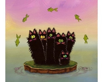 SCAREDY CAT ISLAND Matted Print from The Cranky Cat Collection(TM)