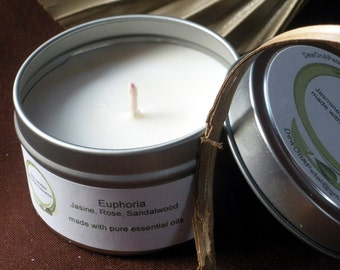 Jasmine, Rose & Sandalwood Essential Oil Blend Soy Wax 6 oz Travel Tin