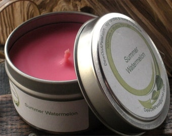 Watermelon Scented Soy Candle Travel Tin 6 oz