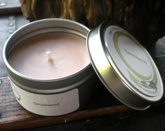 Sandalwood Soy Candle, Travel Tin 6 oz