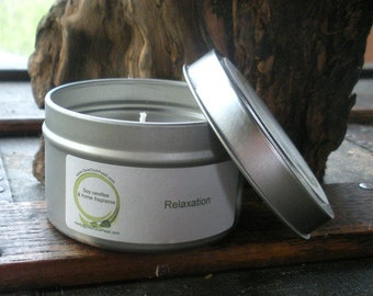 Relaxing Patchouli Rose and Sandalwood scented Soy Candle Travel Tin 6 oz