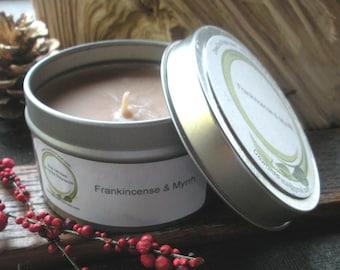 Frankincense and Myrrh Soy Candle, travel tin 6 oz