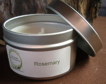Rosemary scented soy travel tin candle, 6 oz