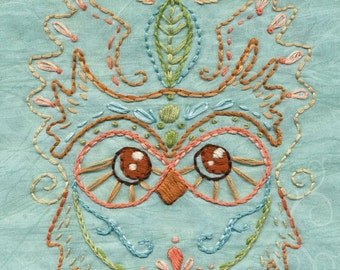Kotori Owl Embroidery Pattern Boho decor PDF download hand embroidery patterns designs