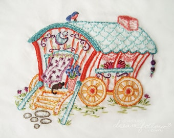 Gypsy Wagon Embroidery Pattern PDF