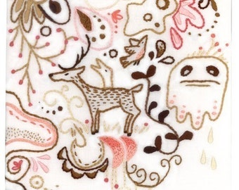 Forest embroidery pattern Woodland animals decor PDF download hand embroidery patterns designs