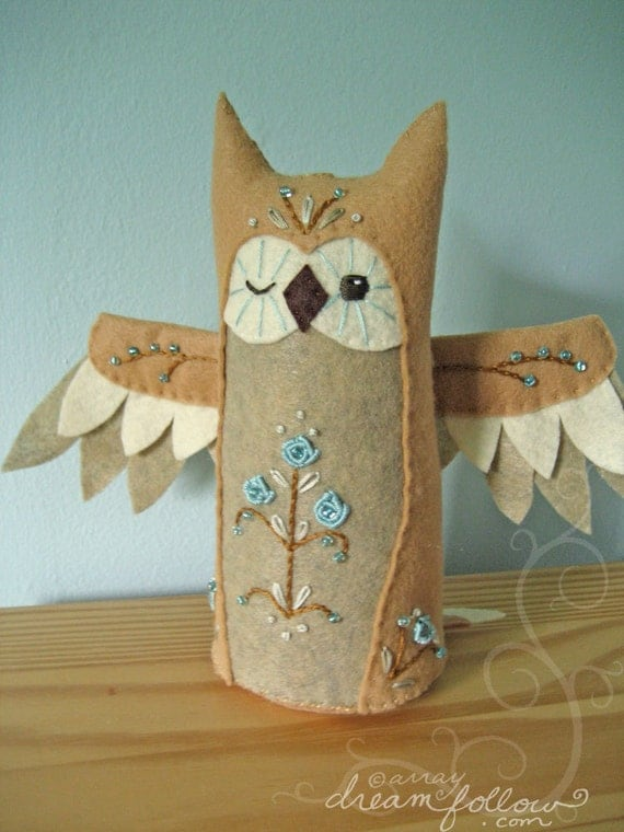 Moonflower One of a Kind embroidered Owl Plush