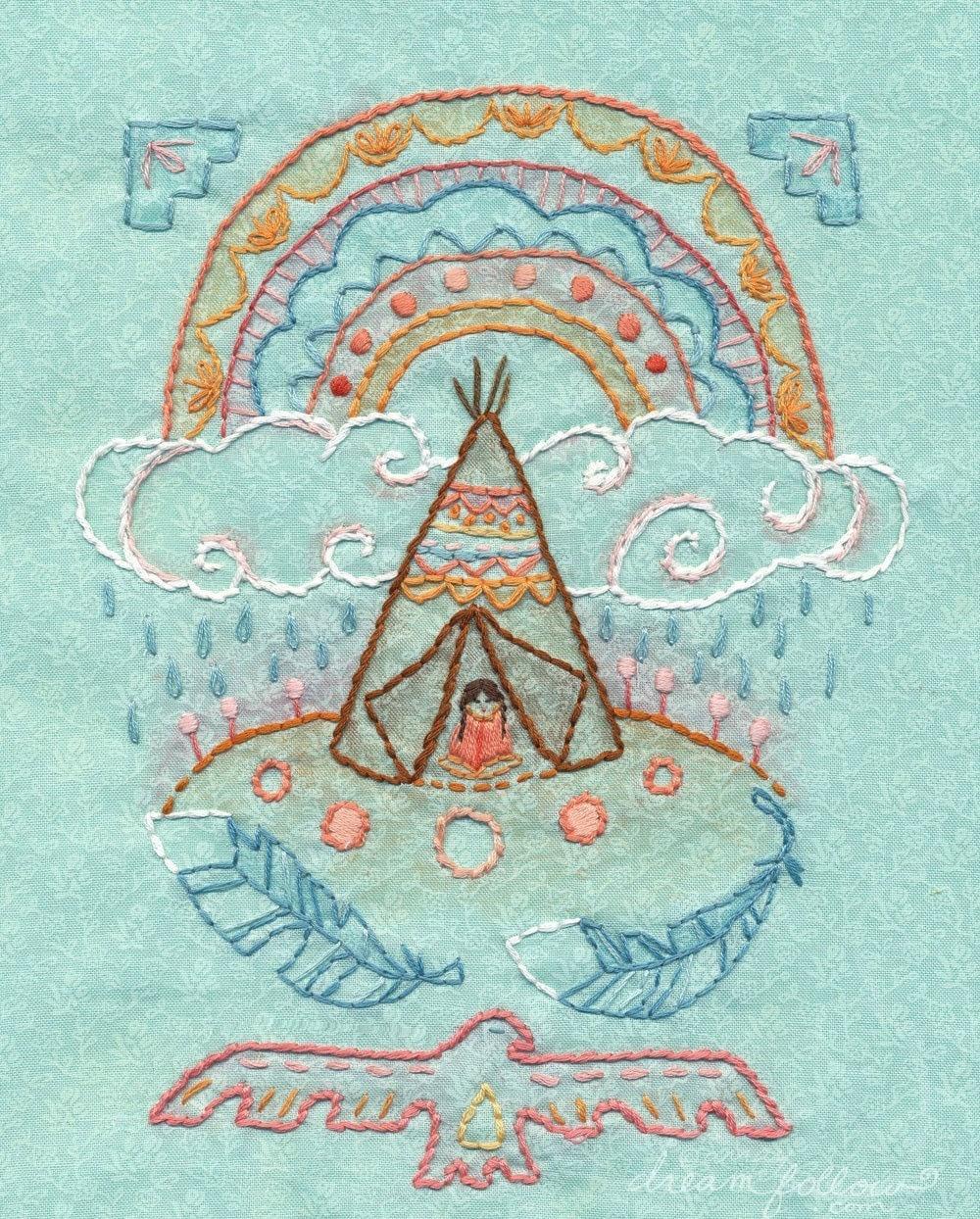 Rainbow warrior embroidery pattern boho decor pdf download