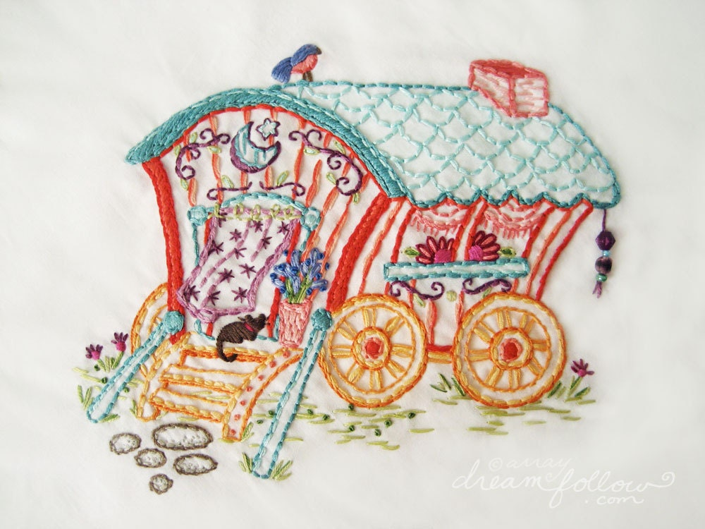 Gypsy wagon embroidery pattern boho decor pdf download hand for Art decoration pdf