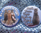 set of two feral cat friend badges or magnets