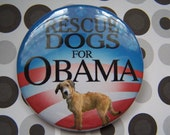 scruffy yellow rescue dog for obama button