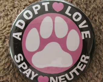 adopt love spay neuter pink paw badge