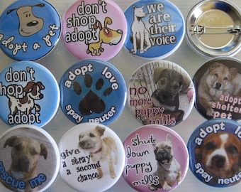 a whole bunch of dog rescue pins ... 1.25 inch ... 20 of them
