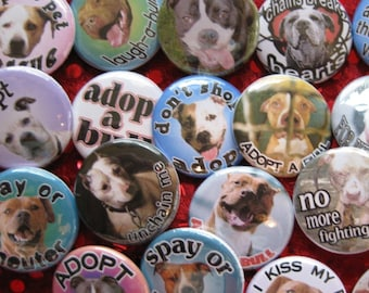 a whole bunch of pit bull rescue buttons..one inch