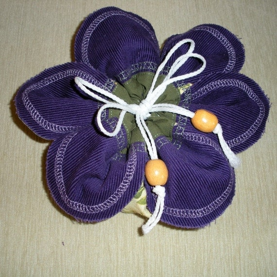 Jewellery Travel Pouch - purple and green Flower