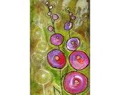 hollyhocks, pink, rose, blooms, garden, art, painting, garden, summer, print
