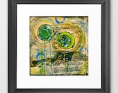 1 green, 1 blue flower (reproduction print)