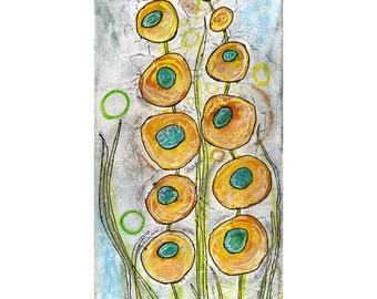 Hollyhock, yellow, flower,blooms, modern, garden, art, painting, print