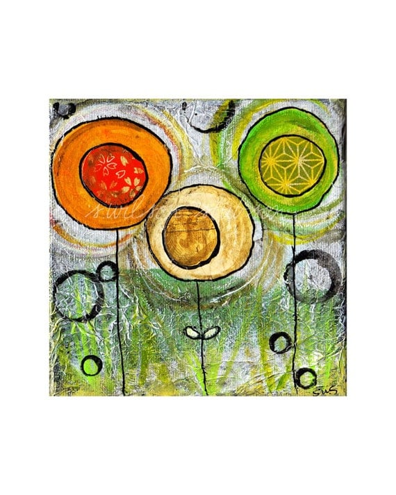 1 orange, 1 cream, 1 green flower (reproduction print)