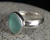Genuine Aqua Sea Glass Ring Bezel Set in Sterling Silver Size 9