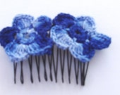 Hair  Comb- Crocheted Blue Flowers