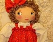 Big Eyed Betsy, Handmade cloth doll by Renata, APD