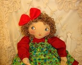 Big Eyed Betsy, Original Cloth Doll, handmade by Renata