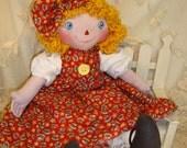 Primitive Raggedy Ann Cloth Doll, Original by Renata