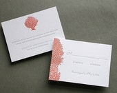 Coral Letterpress Wedding Invitation Suite (100)