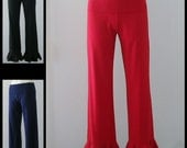 Foldover Waist Cotton Lycra Ruffle Bottom Pants Red or Black