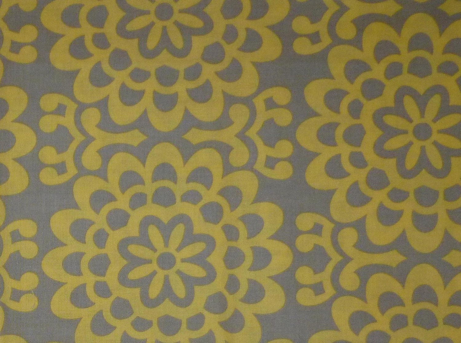 grey and yellow lotus flower wallpaper print fabric
