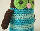Crocheted Plush Amigurumi Style Blue Striped Owl