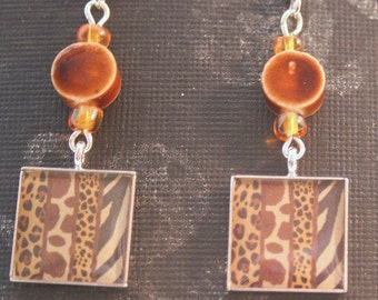 Animal Print Dangly Fishhook Earrings