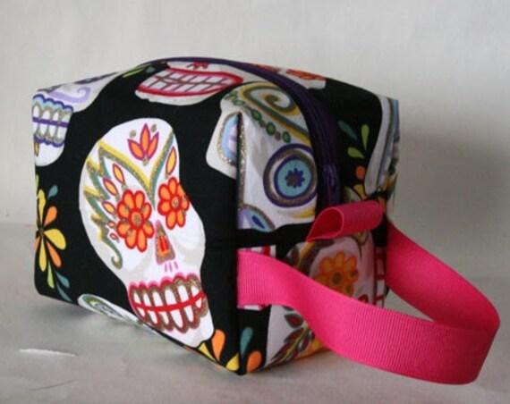 Glittery Sugar Skulls Magenta Ribbon Piddly Bag