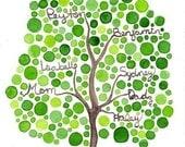 Family Tree Watercolor Painting Original Custom Watercolor Artwork Design for Your Family