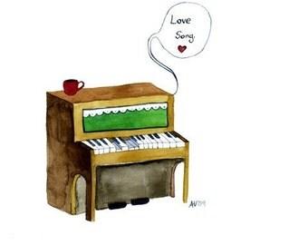 Watercolor Art Love Song Print Illustration Romantic Retro Cute Love Wall Art