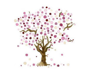 Tree Landscape Cherry Blossoms Watercolor Print Spring Wall Art