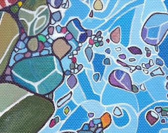 River Rocks Acrylic Landscape Art Reproduction Home Decor