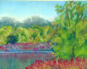 Original Pastel Painting Red Flowers By The River Matted and Ready To Frame and Hang