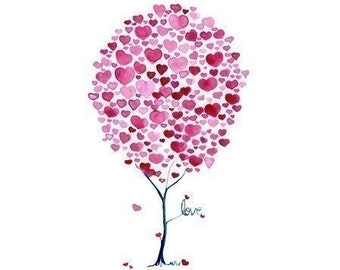 Tree Artwork A Spring of Love Watercolour Print Romantic Wall Art