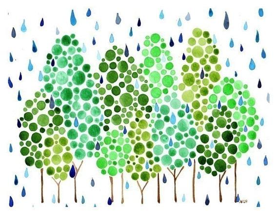 Rainforest Watercolour Print Wall Art