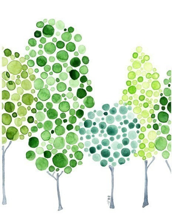 Watercolour Forest All Together Now Print