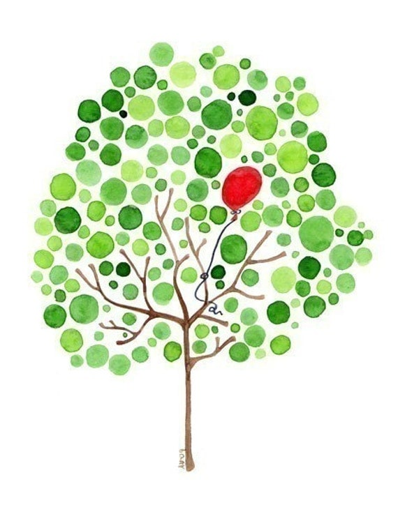 Tree Watercolour Artwork Red Balloon Art Print Painting Reproduction