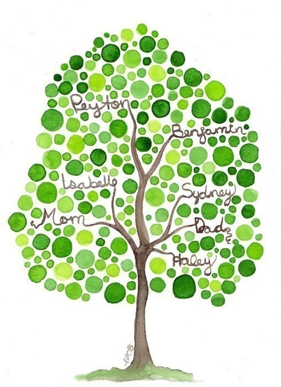Family Tree Watercolor Painting Original Custom Watercolor Artwork Design for Your Family