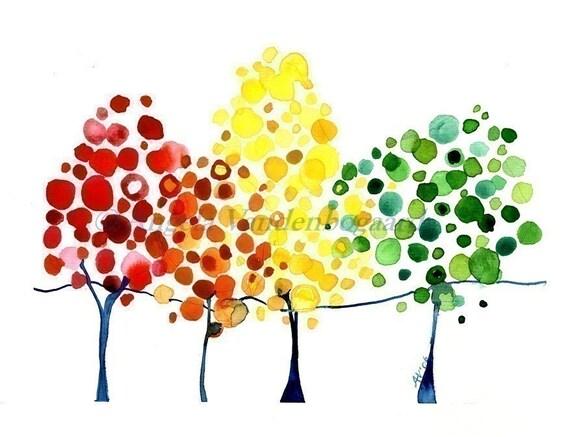 The Turning Watercolour Autumn Art Print Poster Wall Art