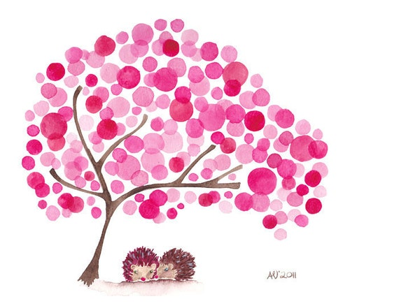Hedgehogs Watercolor Tree Art Print Valentines Artwork