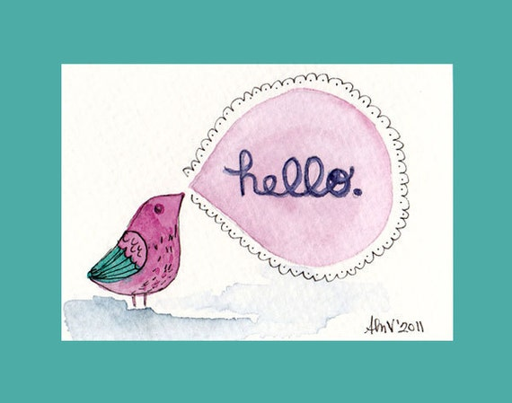 Hello Bird Watercolor Painting ATC ACEO