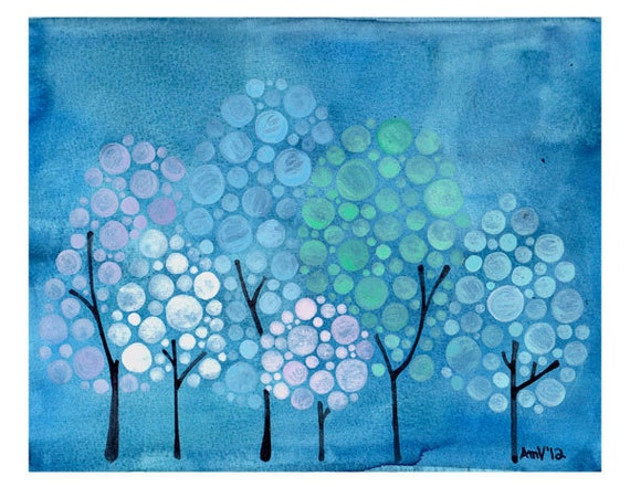 Frosty Forest Watercolor Print Winter Holiday Wall Art for House and Home